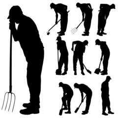 Vector silhouette of gardener.