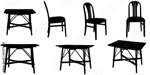 Vector silhouettes of chairs and a table.