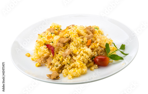 Rice with chicken and pineple