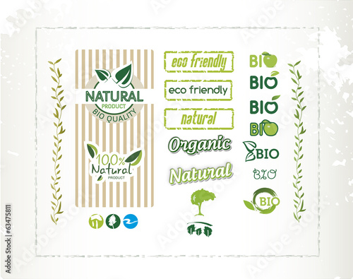 Bio labels, natural quality, eco friendly, vector illustration