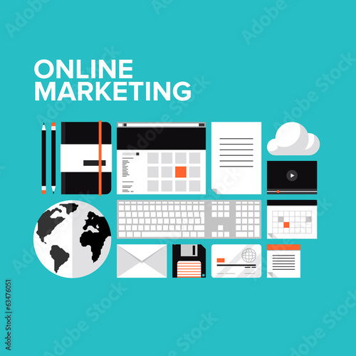 Online marketing flat icons set