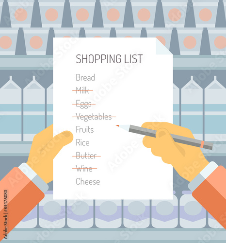 Shopping list in supermarket flat illustration