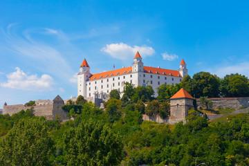 Medieval castle on  hill against  sky, Bratislava, Slovakia
