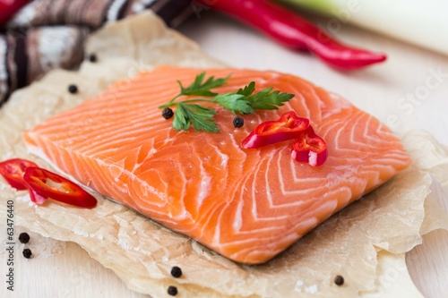 Raw fillets of red fish, salmon, cooking healthy diet dishes