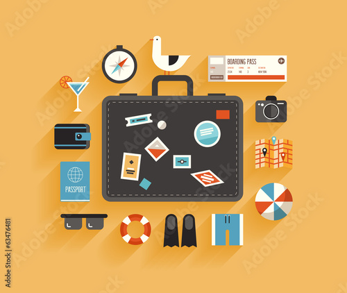 Travel and vacation flat design concept