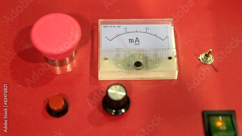 Panel with working electric ammeter