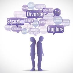 nuage de mots bulles : divorce homme femme dos à dos (cs5)