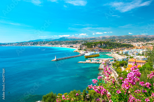 Poster Kust Nice city, french riviera, mediterranean sea