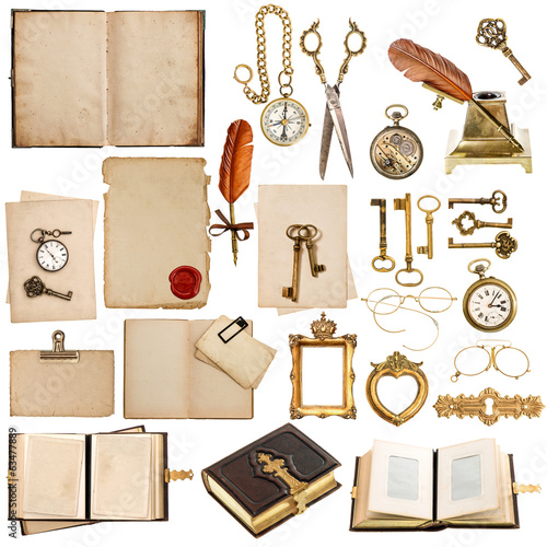 antique clock, key, papers, books, frames