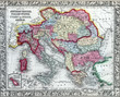 Antique map of the Austrian Empire, Italian States and Turkey in