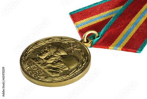"Soviet medal ""70 years of the Red Army"" on white background."