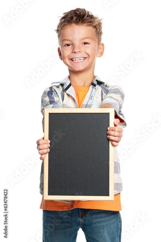Boy with small blackboard