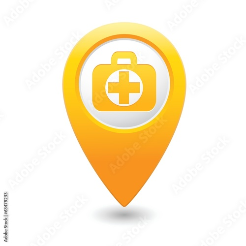 Medical bag icon with cross on map pointer