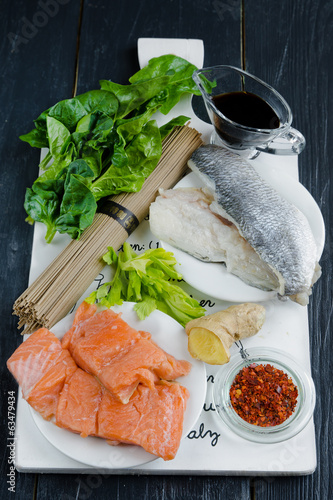 Raw ingredients for making Chinese soba noodles with fish