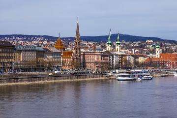 Budapest, Hungary. View of Danube and embankment