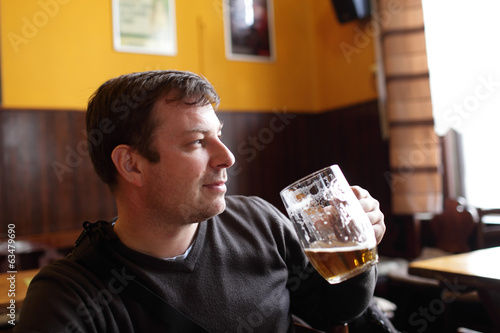 Man with glass of beer