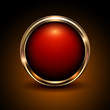 Shiny button red and gold glossy metallic