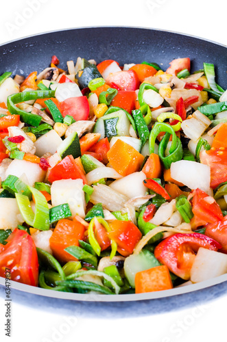 Sliced vegetables in the pan isolated