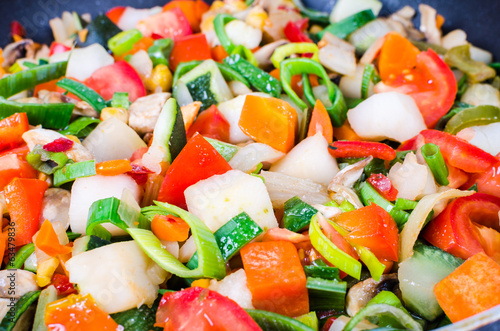 Sliced vegetables in the pan