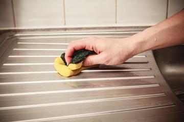 Hand cleaning kitchen sink