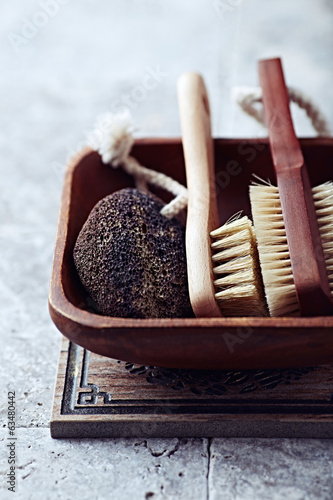 Natural dark Pumice and Bath Brushes