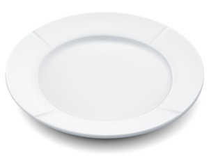 Empty plate isolated on a white. Vector illustration