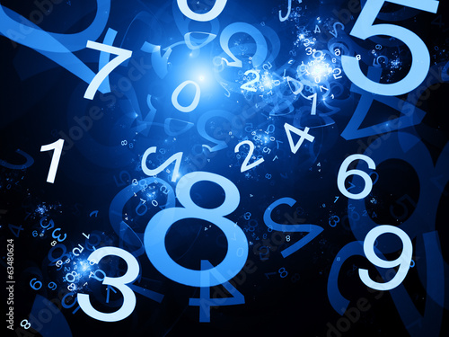 Numbers blue abstract background