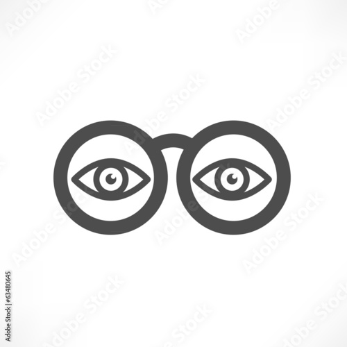 Eyes in glasses icon - Vector illustration