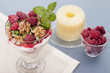 Parfait with pineapple and raspberries.