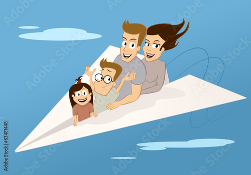 Family in the paper plane