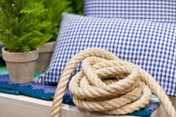 Pillow and the rope in a cafe with sea theme