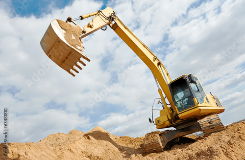 canvas print picture excavator loader at earthmoving works