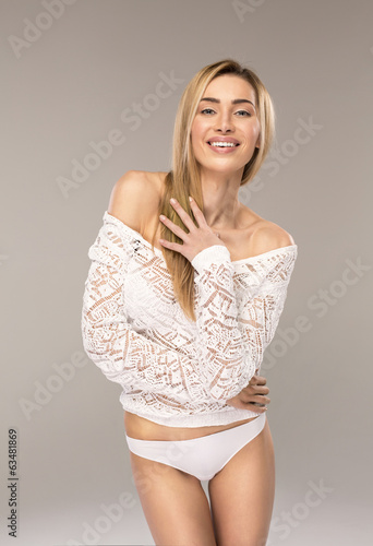 Happy blond woman
