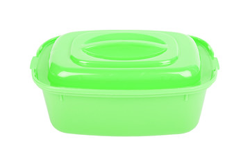 The closed green food container