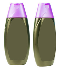 Black shampoo bottles with violet caps