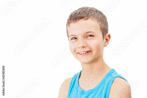 Portrait of a teenage boy in a tank top