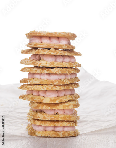 cookies with pink mousse , isolated