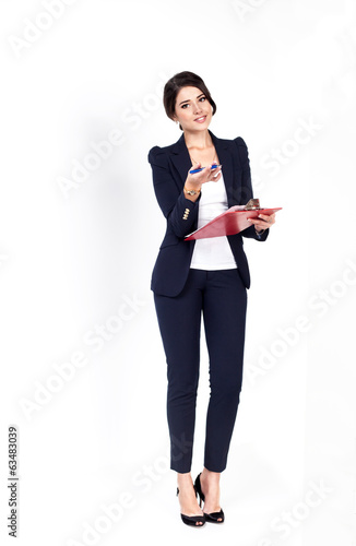 Happy successful business woman on white background