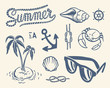 Vintage summer collection of nautical illustrations