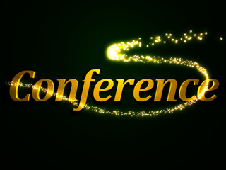 Conference - 3d inscription with luminous line with spark