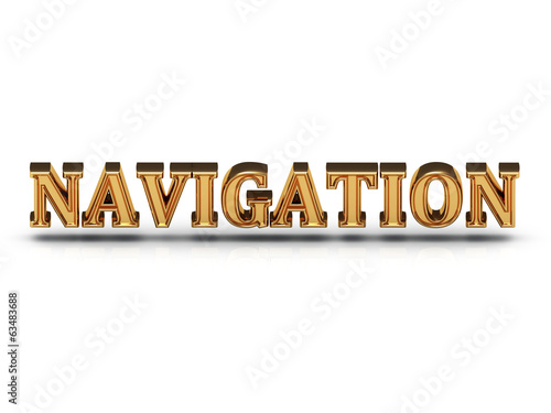 NAVIGATION - 3d inscription large golden letter