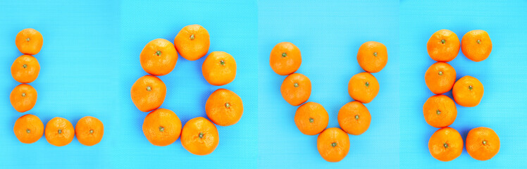 Ripe sweet tangerines, on color background