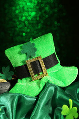 Saint Patrick day hat and pot of gold coins