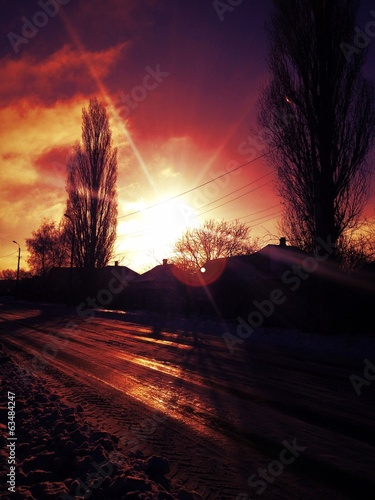 canvas print picture winter sunrise