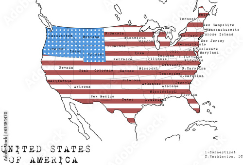 USA map with flag and states names