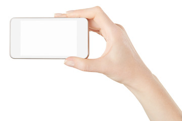 Smartphone in female hand isolated, clipping path
