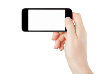 Smartphone in female hand taking picture on white, clipping path