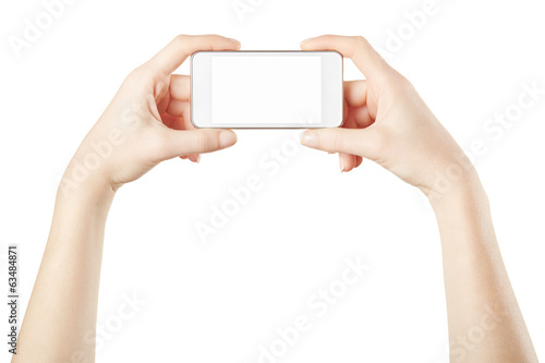 Smartphone in female hands isolated, clipping path