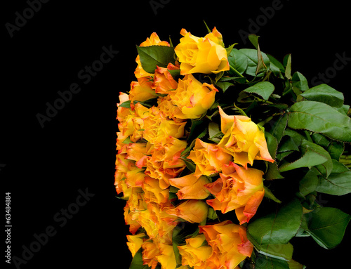 beautiful bouquet of roses on a black background
