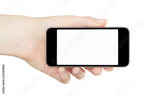 Female hand holding smartphone device on white, clipping path